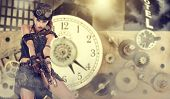 picture of post-apocalypse  - A steampunk woman stands on a background of abstract clock - JPG