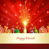 stock photo of diwali  - Vector happy diwali crackers background - JPG