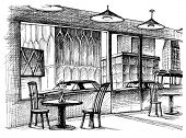 picture of interior sketch  - Restaurant interior vector sketch - JPG