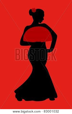Flamenco dancer silhouette with fan