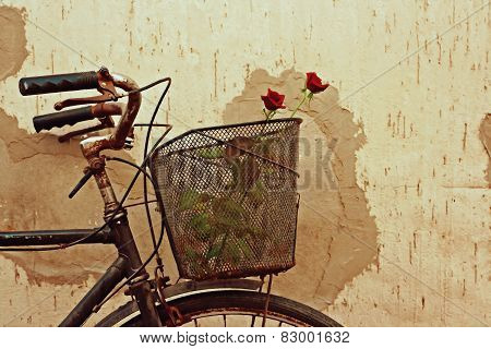 Digital Painting Of Red Roses In An Old Bicycle Basket