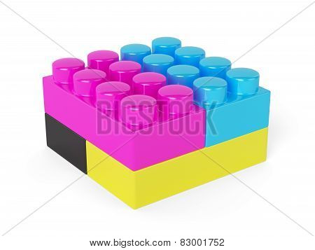 Cmyk Block Concept Isolated On White