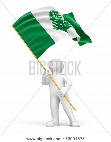 Man and Norfolk Island flag (clipping path included)