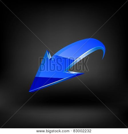 Blue arrow. Vector