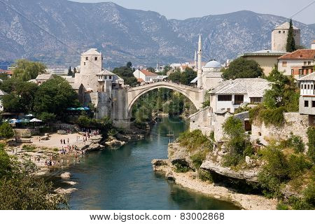 Mostar Cityscape With Neretva River And The Old Bridge