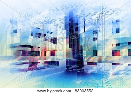 Abstract Colorful 3D Digital Background. Hi-tech Concept