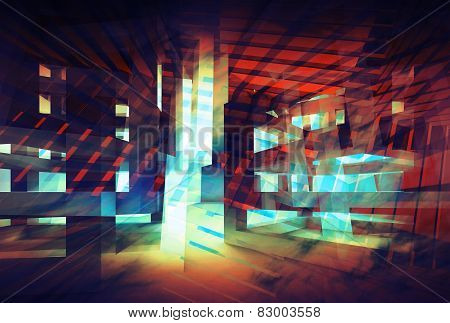 Abstract Colorful Digital Background. Hi-tech 3D Concept