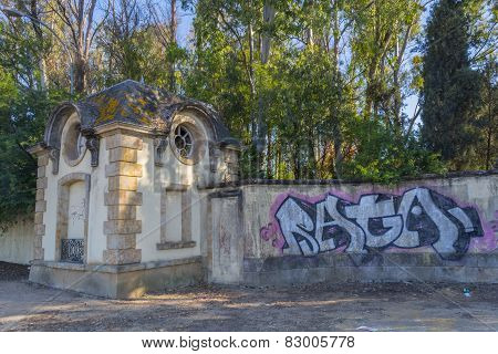 Graffiti On The Wall Of An Abandoned Mansion, El Puerto De Santa Maria