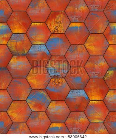 Colorful Hexagonal Tiled Seamless Texture