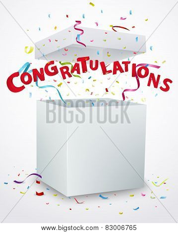 Congratulations message box with confetti
