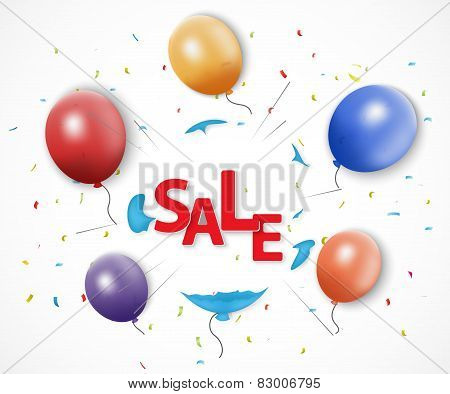 Shocked sale concept with burst balloon