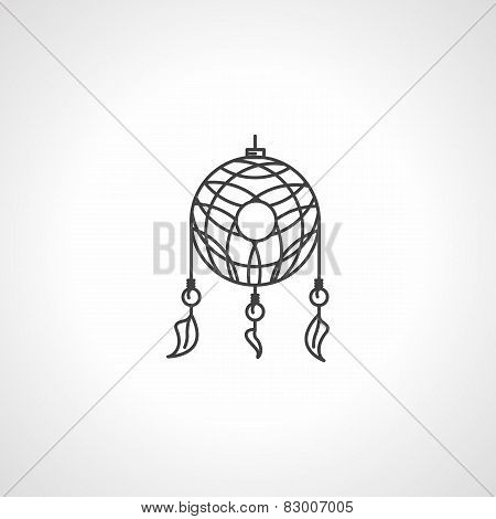 Black line dream catcher vector icon
