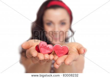 Women Holding Hearts In Her Hands.