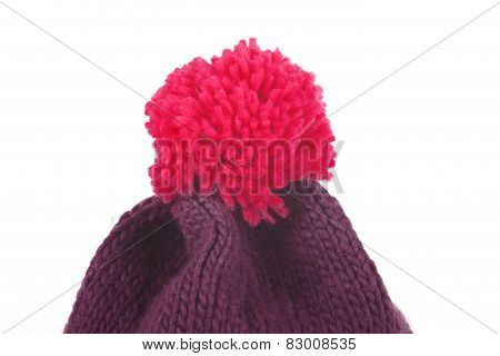 Red Bobble Hat Isolated On White