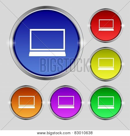 Laptop Sign Icon. Notebook Pc Symbol. Set Colur Buttons. Vector