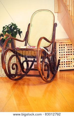 Retro Rocker Wooden Swing Chair On Wood Floor As A Vintage Memories With Interior Flower
