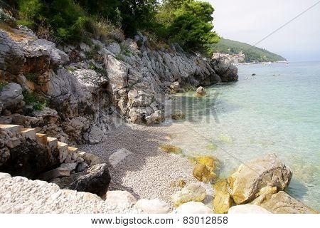 beautiful sceneria stone blue sea beach croatia