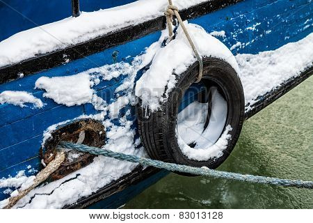 Fishing Boat In A Port In Winter