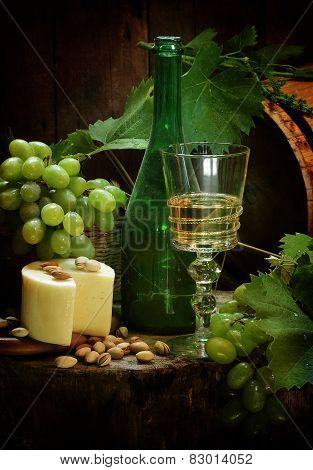 Wine, Cheese, Nuts And Grapes