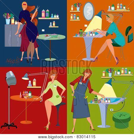 Beauty Salon Spa Employees Flat People