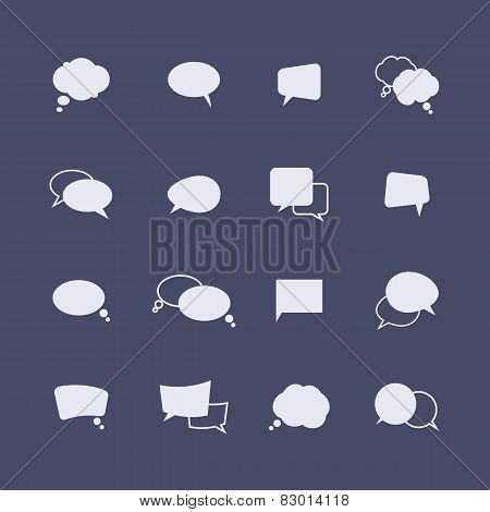 Set of simple speech bubble icons on the dark background. Vector