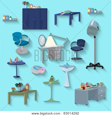 Beauty Spa Furniture Set Flat Design