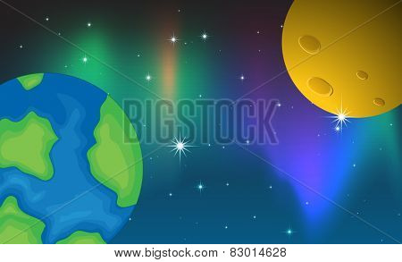 Illustration of two planets and aurora background