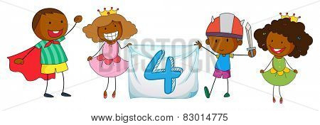 Illustration of a flashcard number four with children