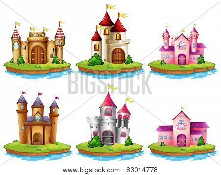 Illustration of many castles on the islands