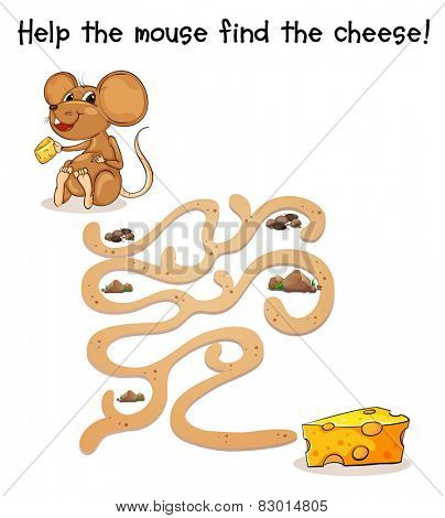 Illustration of a maze game with a rat and cheese