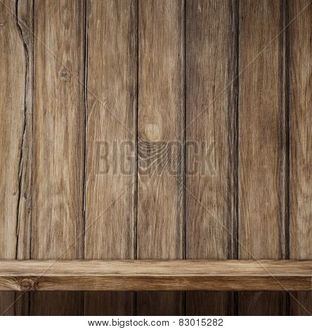 Empty wood shelf vintage background