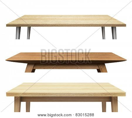 Wooden table tops isolated on white background