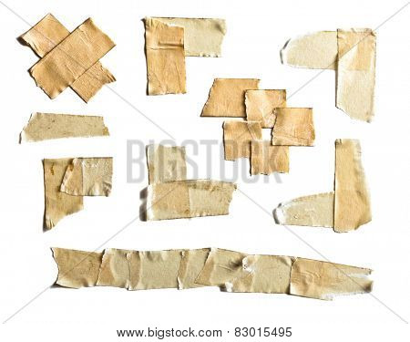 collection of different tape isolated on white background