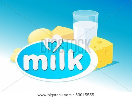 Vector Design With Milk, Dairy Product Illustration