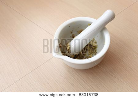 Spices With Mortar And Pestle
