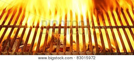 Flaming Empty Barbecue Grill