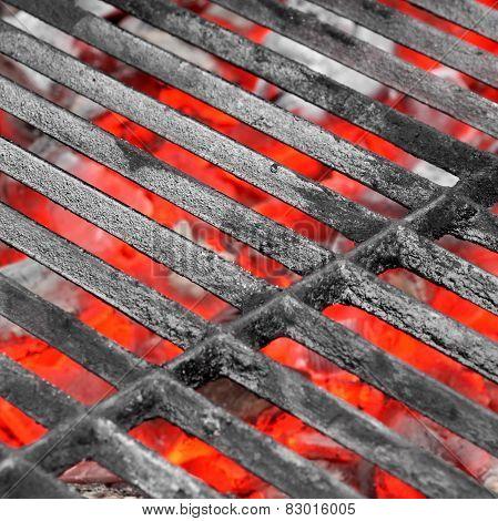 Empty Black Grill And Hot Coals
