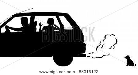 Illustrated silhouettes of a puppy being abandoned by a family driving away