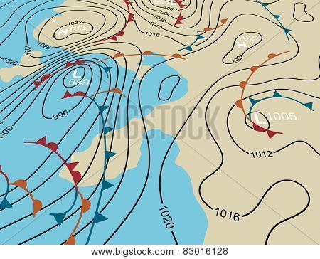 Illustration of an angled generic weather system map