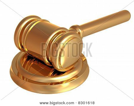 Gold Auction Hammer Isolated on White Background