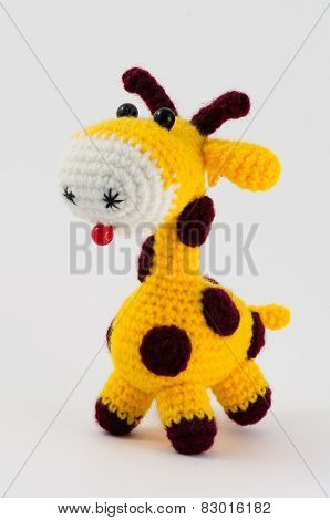 giraffe soft toy isolated on white