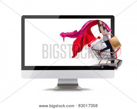 Modern computer display with woman in shopping trolley. Concept of electronic shopping. Front view. Isolated on white background