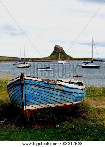 Lindisfarne Castle over harbour