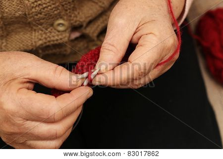Hands knitting close-up