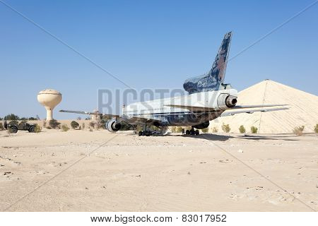 Airplane In The Desert. Abu Dhabi