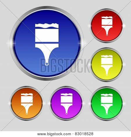 Paint Brush Sign Icon. Artist Symbol. Set Of Colored Buttons. Vector