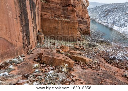 Old sandstone quarry on the shore of Horesetooth Reservoir near Fort Collins, Colorado, winter scenery