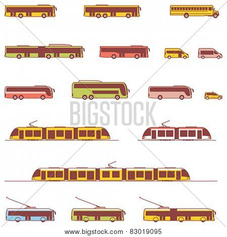 Set of the different types of public transport vehicles