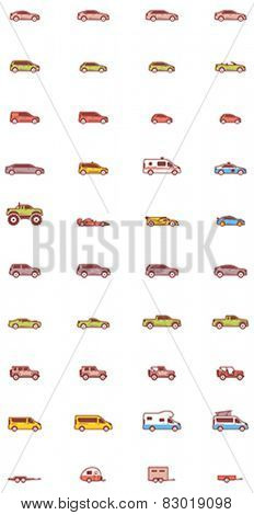 Set of the different types of cars