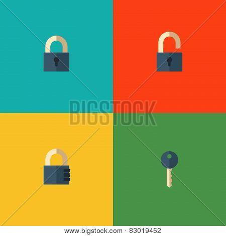 Set of lock icons